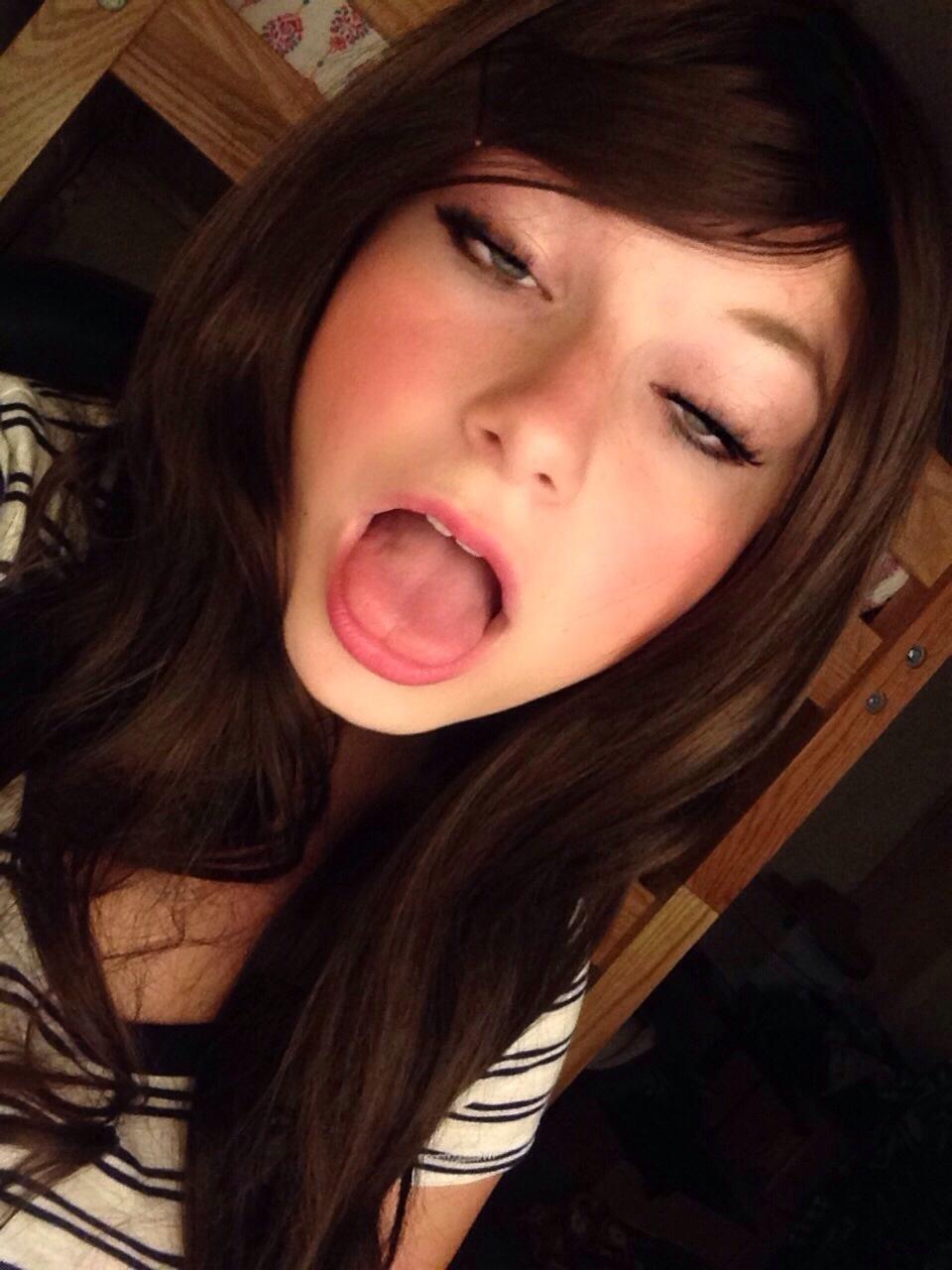 Petite brunette ball gag