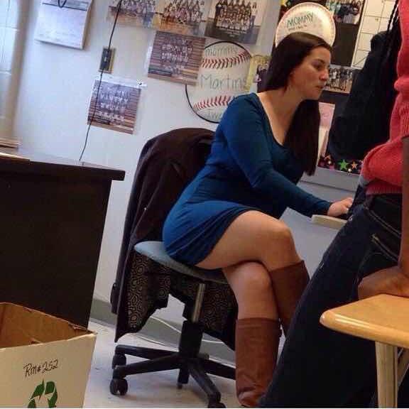 Japanese teacher bends over for student